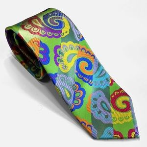 Green Paisley multi-color Lawrence Ivey Silk Tie